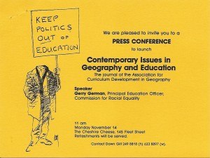 Flyer to the launch of Contemporary Issues in Geography and Education (CIGE Correspondence Archive/1983/000032) copyright CIGE estate.